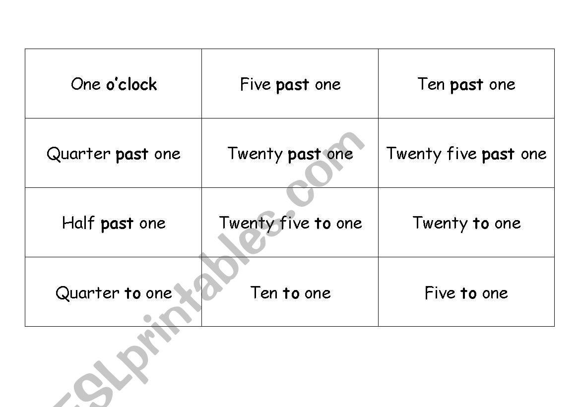 English Worksheets Telling Time