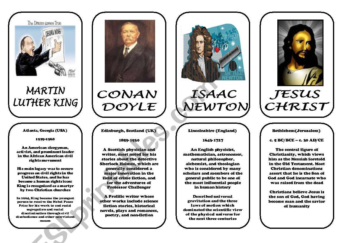 Famous People Speaking Cards Was Were Part 7