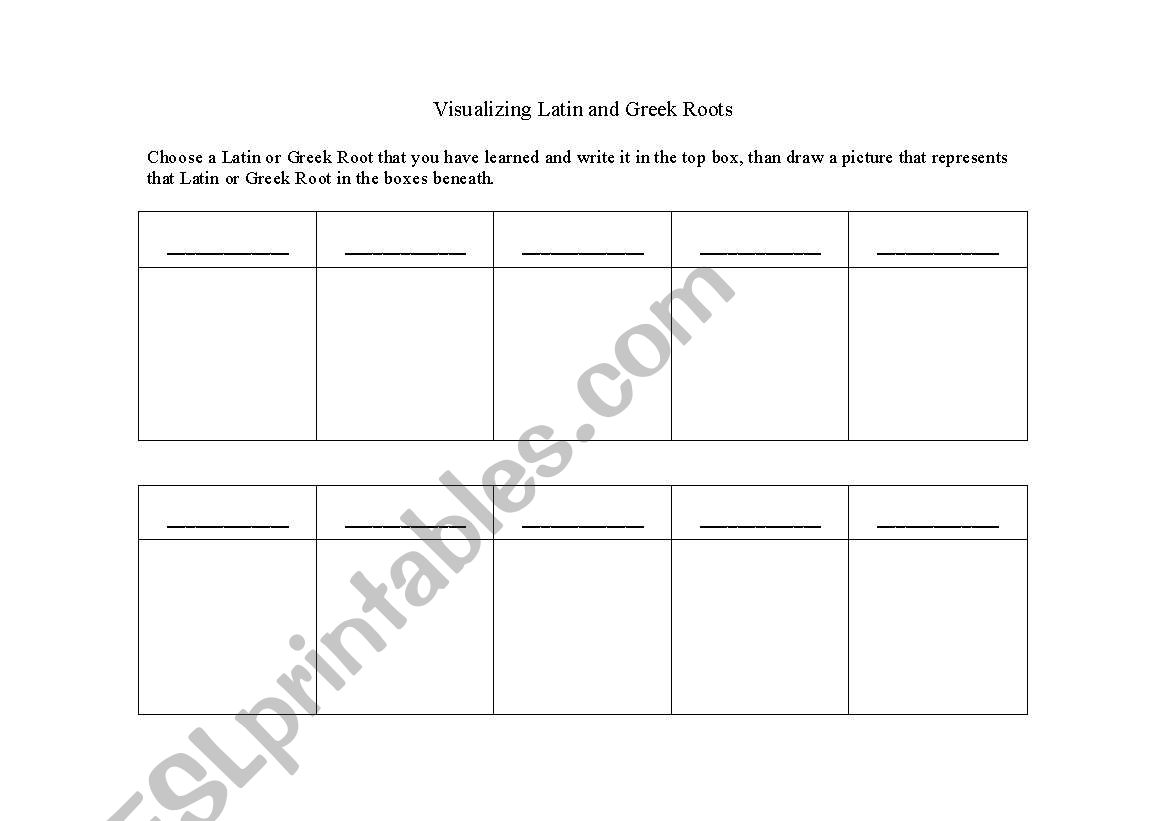 English Worksheets Visualizing Latin And Greek Roots