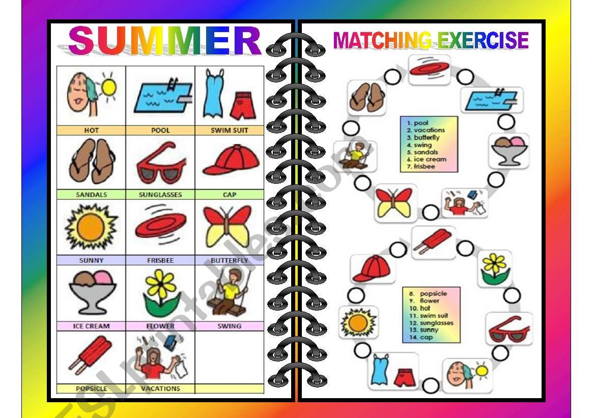Seasons Pictionary And Matching All In One Summer 3 4
