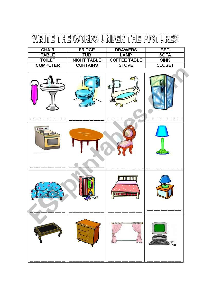 English Worksheets FURNITURE WRITE THE WORDS