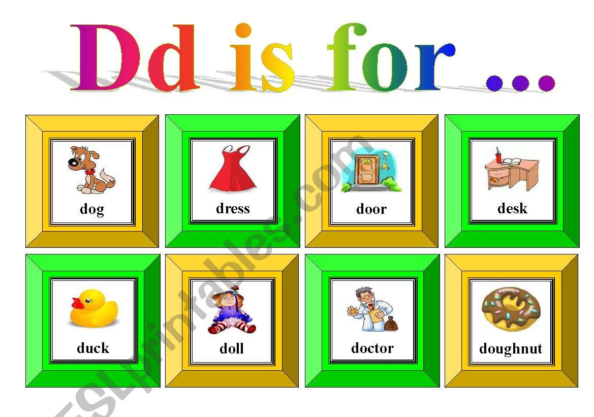 Dd Is For With Exercise And Flash Cards For Memory
