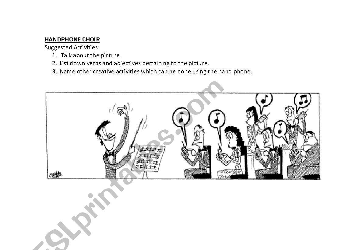 English Worksheets Handphone Choir