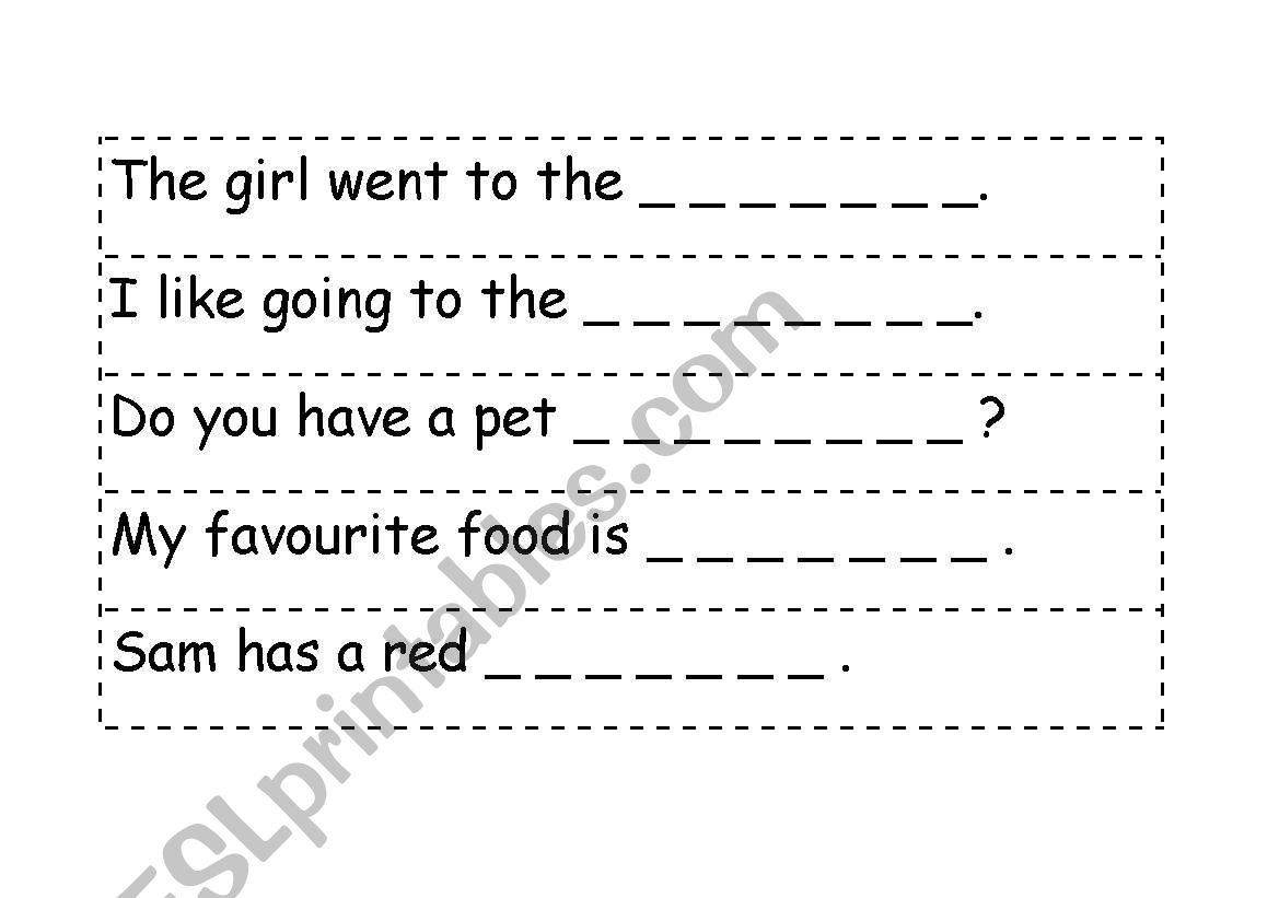 English Worksheets Picture Cloze