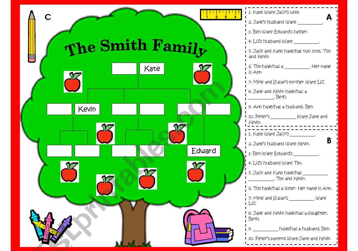 Family Tree Worksheet And Game B W Lesson Plan Amp Key
