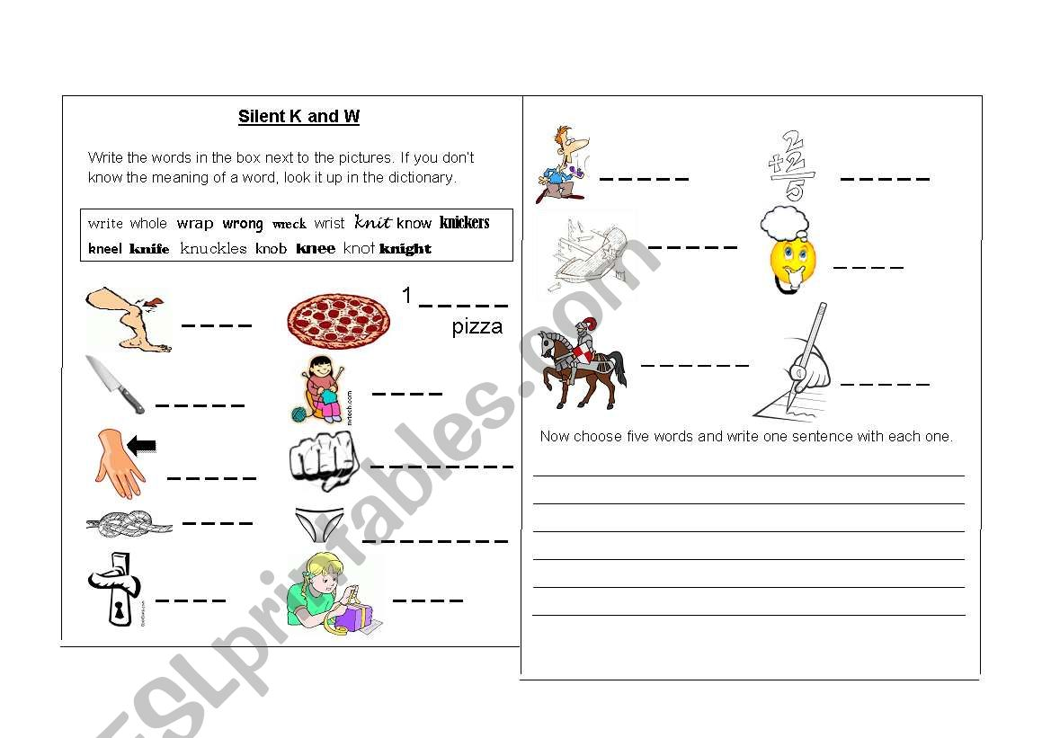 English Worksheets Silent K And Silent W Words