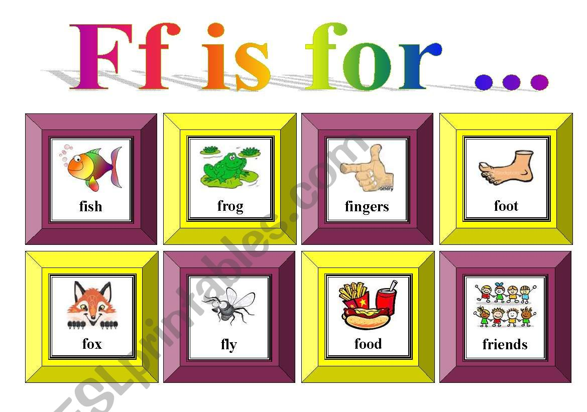 Ff Is For With Exercise And Flash Cards For Memory Card