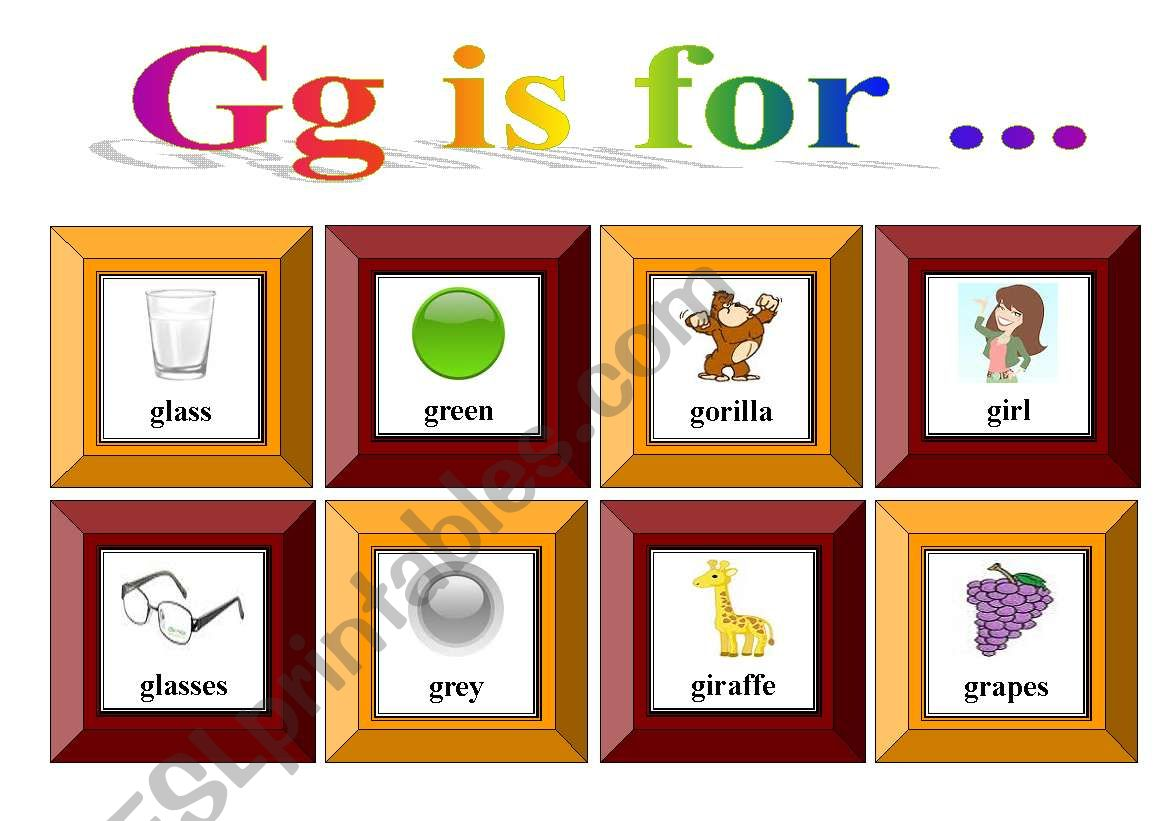Gg Is For With Exercise And Flash Cards For Memory Game