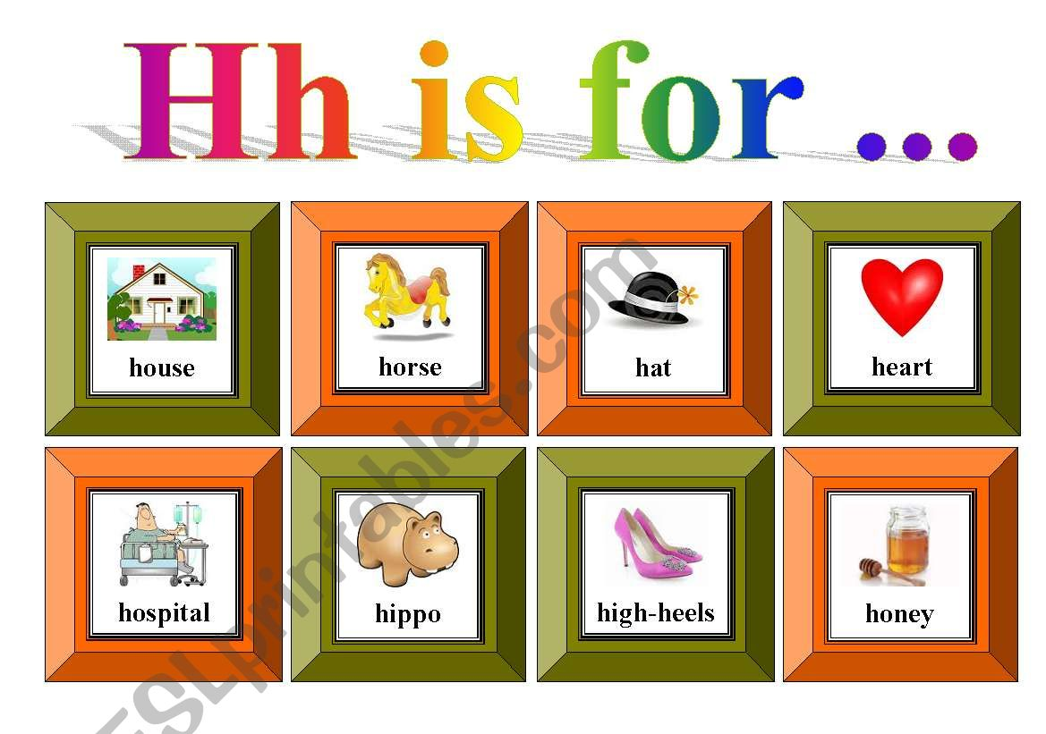 Hh Is For With Exercise And Flash Cards For Memory Game