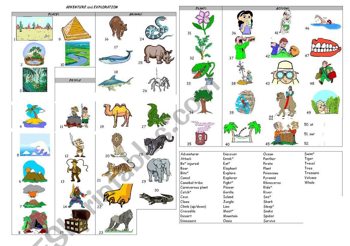 Adventure And Exploration Worksheet