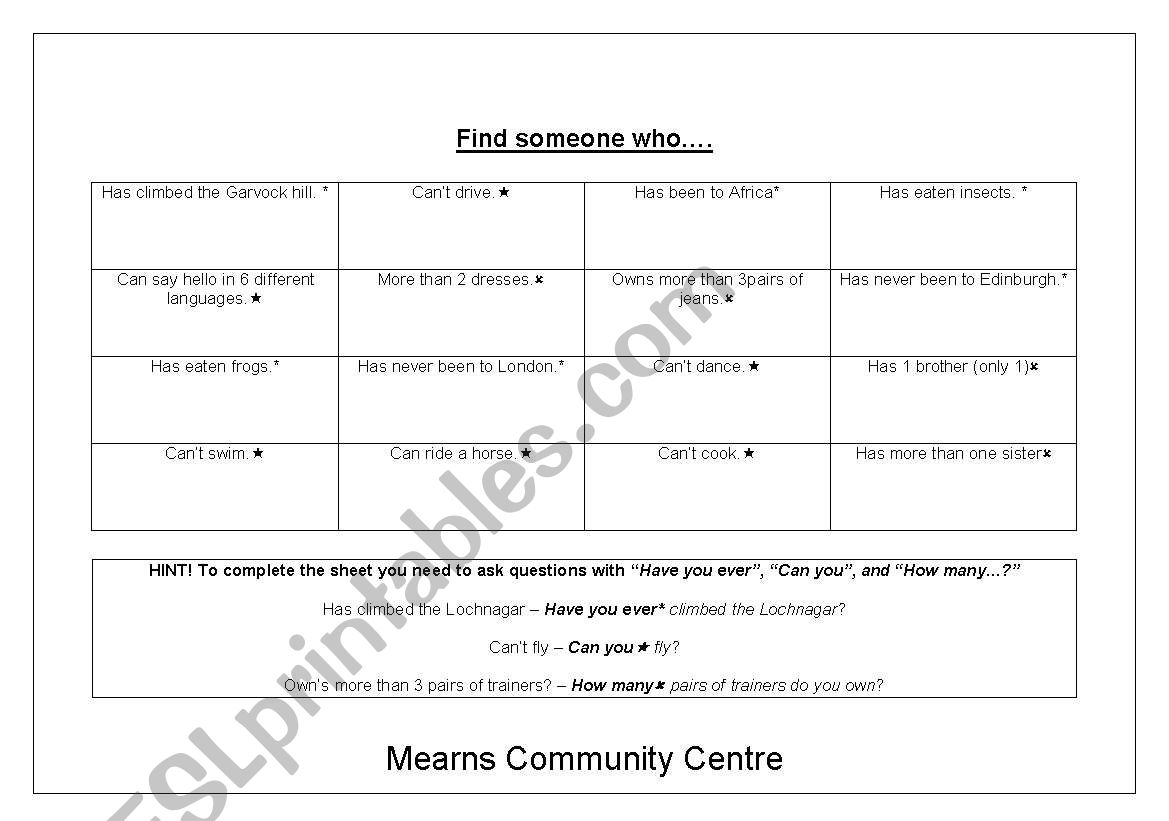 English Worksheets Beginner Level Scavenger Hunt