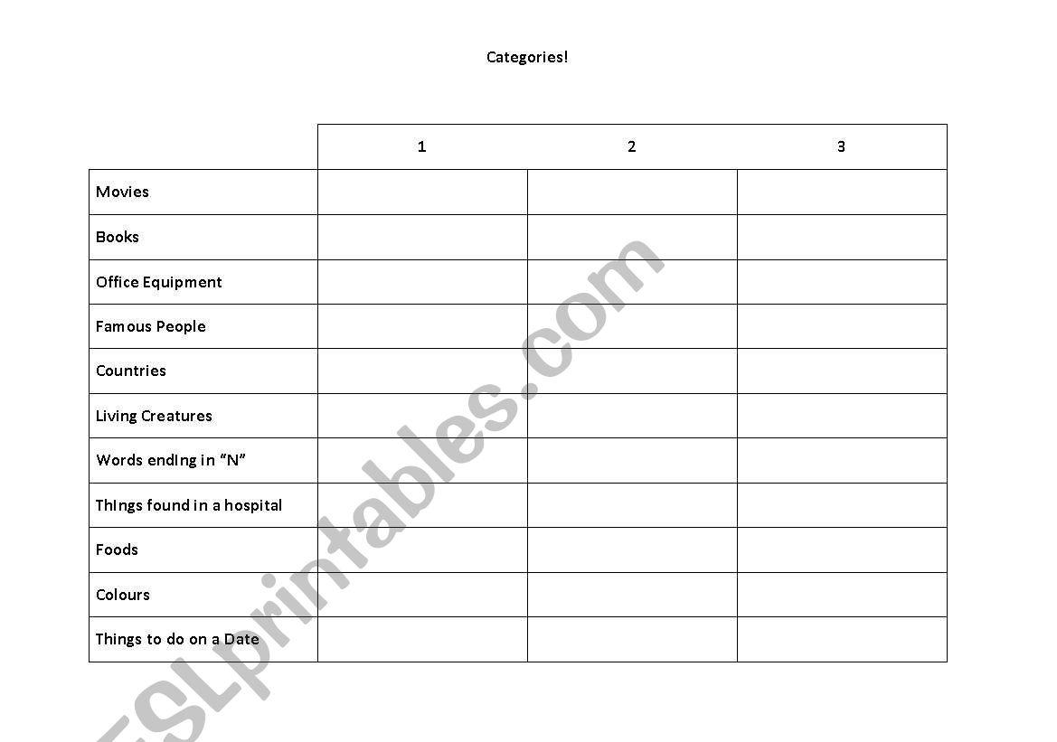 English Worksheets Scattegories Categories