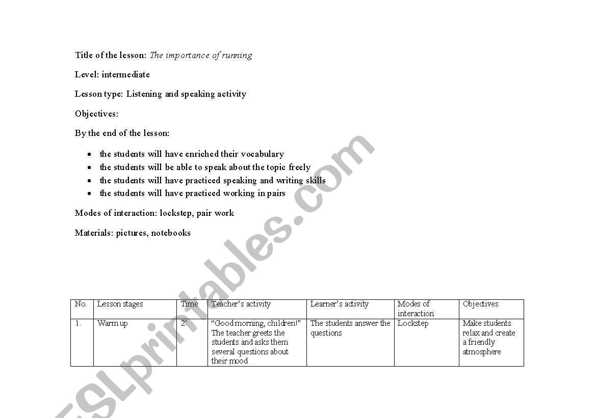English Worksheets Integrated Skills Lesson Plan