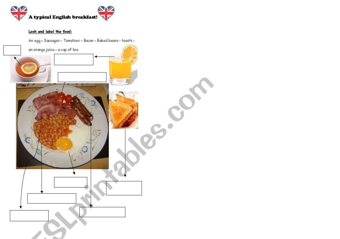 English Worksheets A Typical English Breakfast