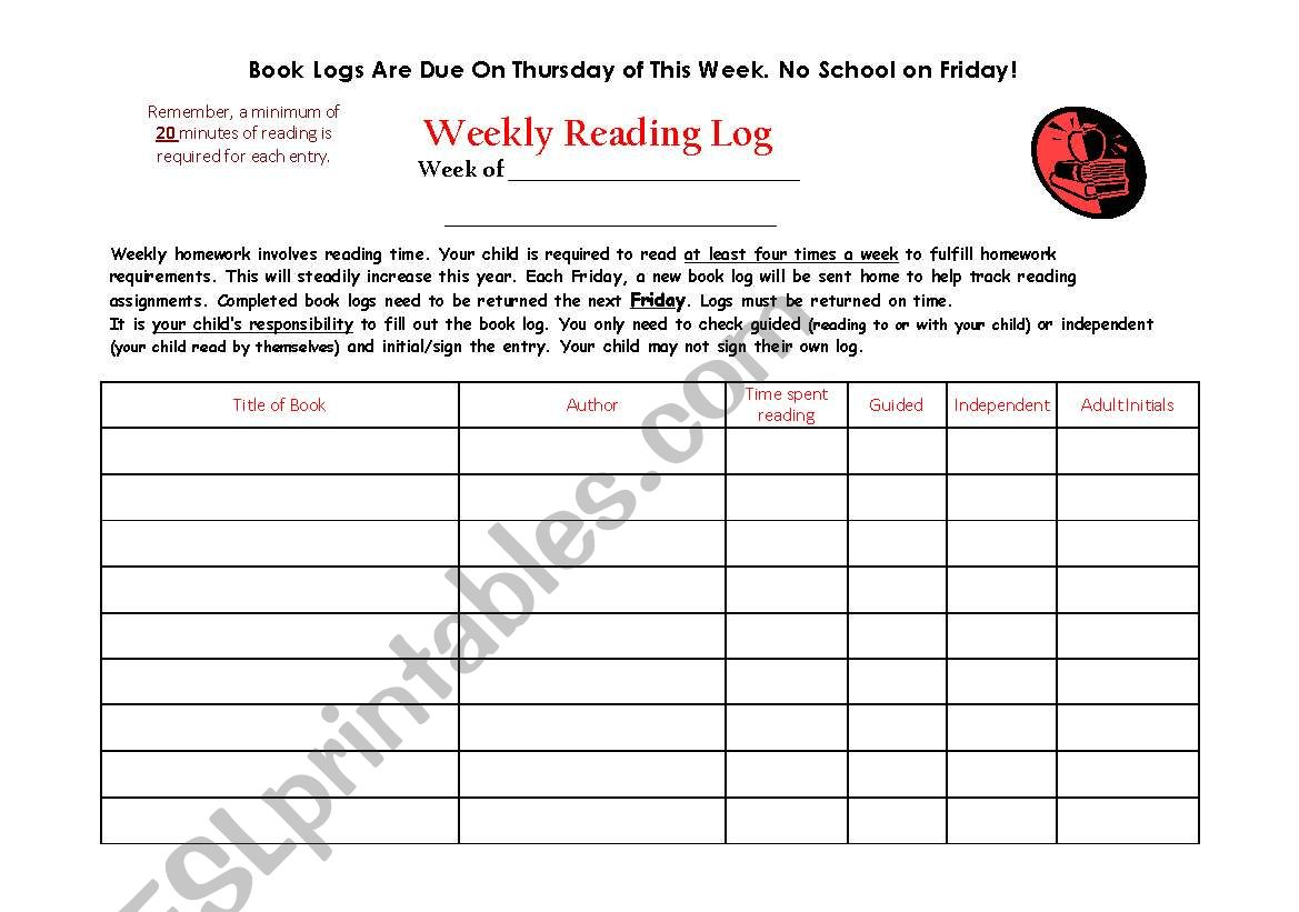English Worksheets Weekly Reading Log