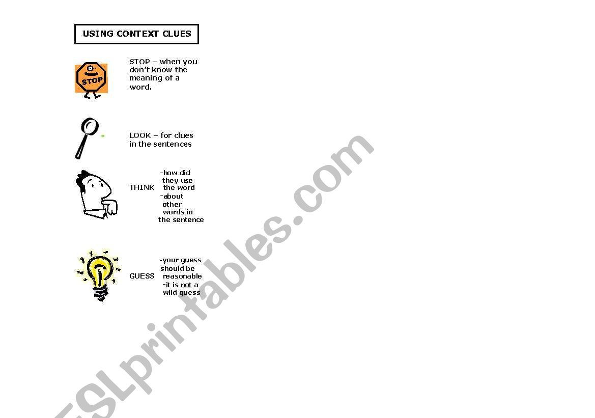 English Worksheets Context Clues