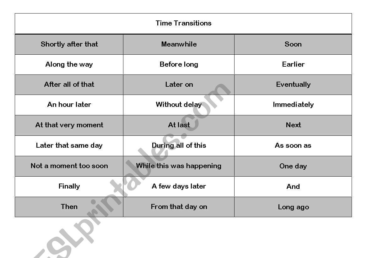 English Worksheets Time Transition Words