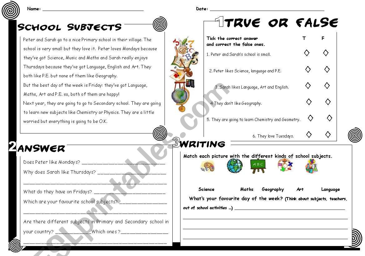 School Subjects Reading Answers Writing