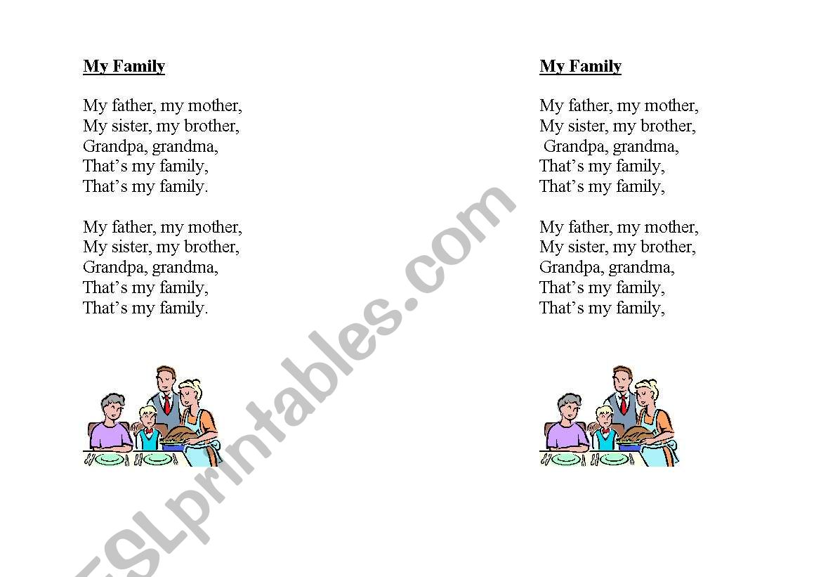 English Worksheets My Family Chant
