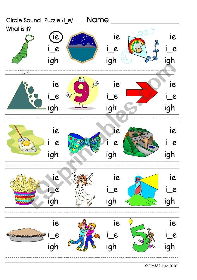 English Worksheets Circle Sound Puzzle 6 Phonics The I