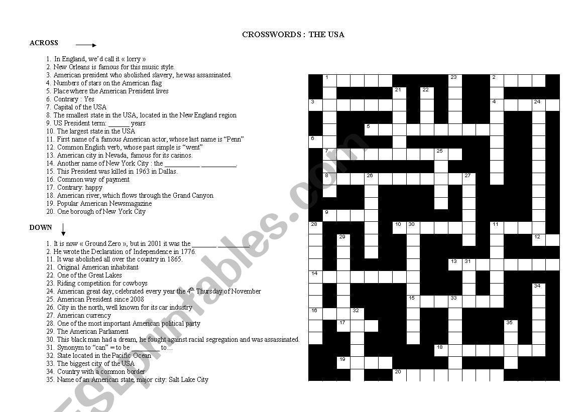 Crosswords American Culture
