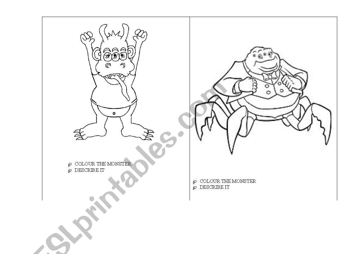 English Worksheets Monsters