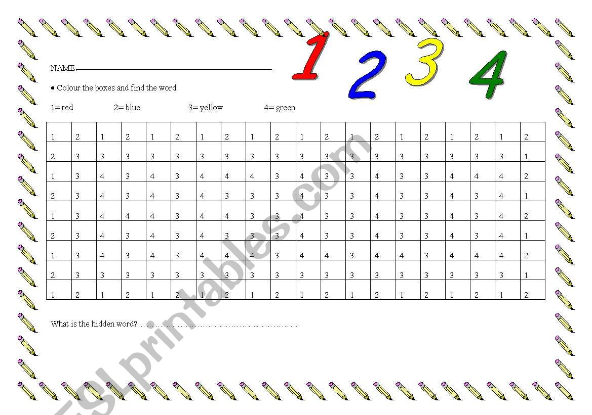 Colours And Numbers 1 4 Colouring Page