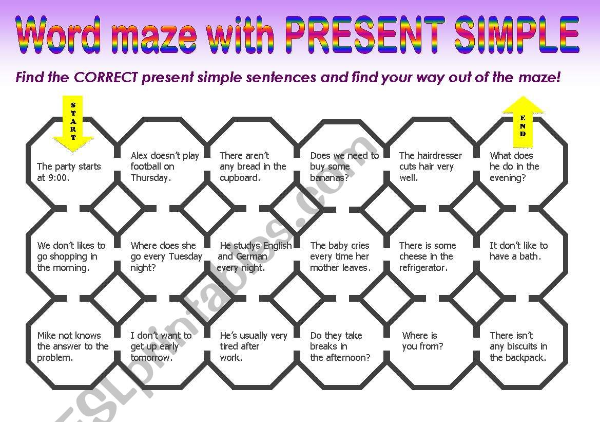 Present Simple Maze