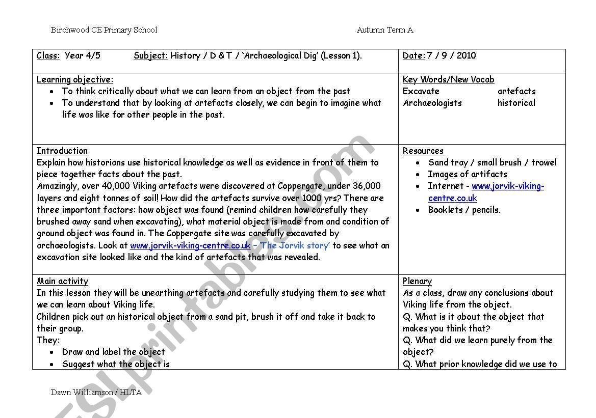 English Worksheets Archaeological Dig