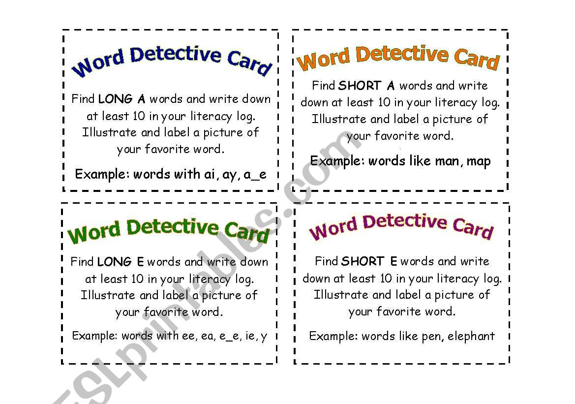 Word Detective Cards