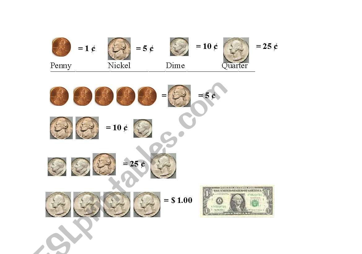 Dollar Bill Worksheet Kindergarten