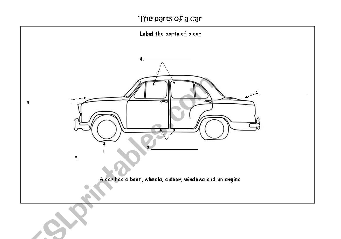 English Worksheets The Parts Of A Car