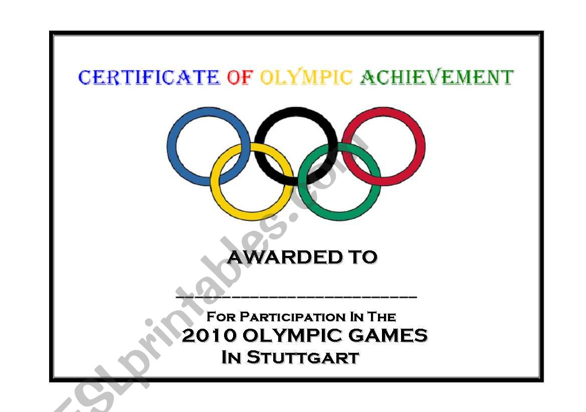 English Worksheets Certificate Of Olympic Achievement