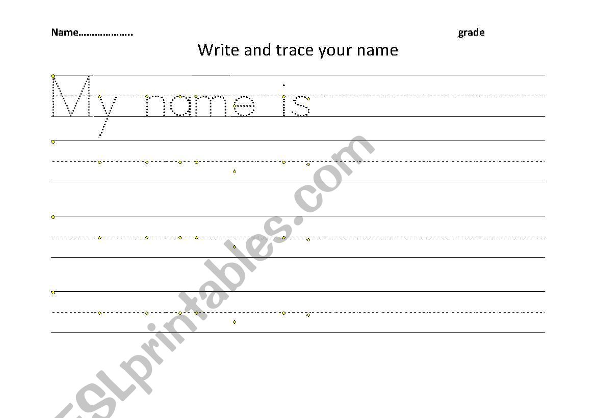 English Worksheets Trace And Write Your Name