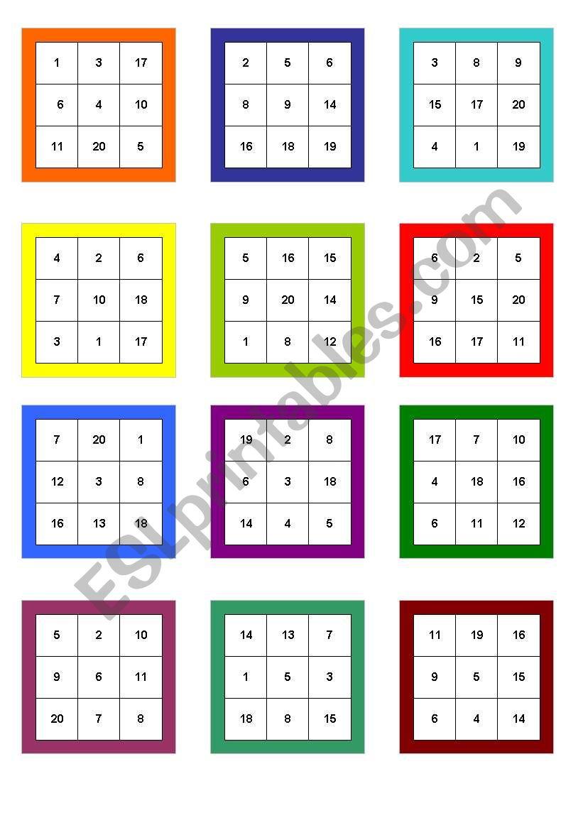Numbers 1 20 Bingo