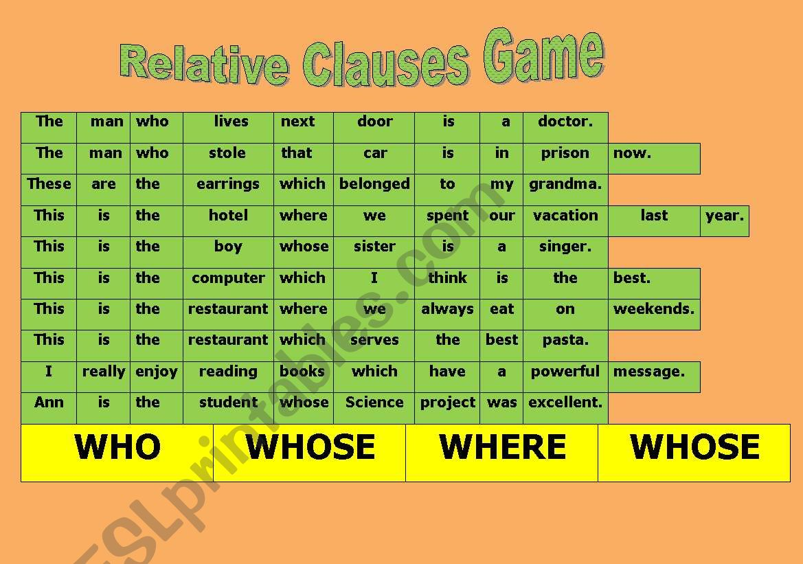 Relative Clause Game