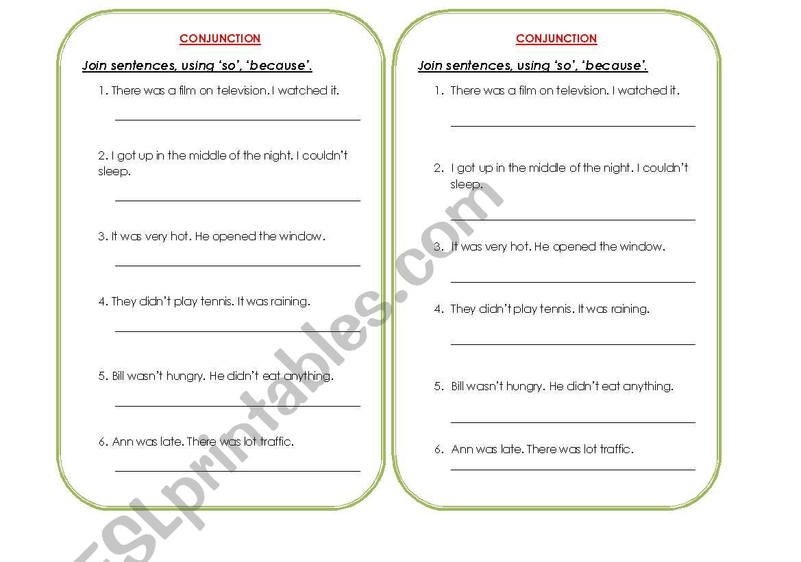 Conjunctions 1 So And Because