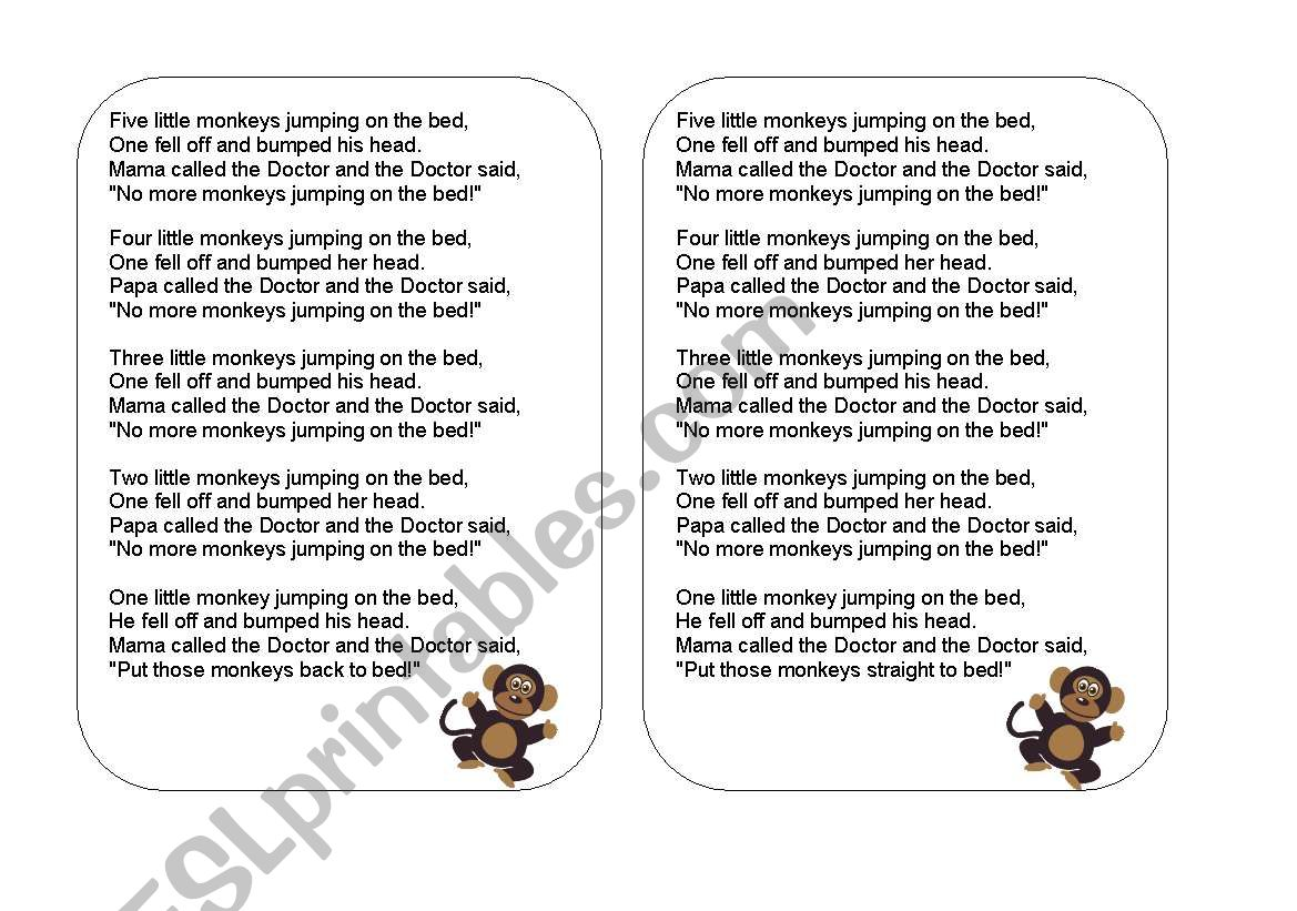 English Worksheets 5 Little Monkeys Jumping On The Bed