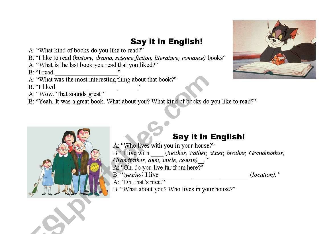 English Worksheets Conversation Starters