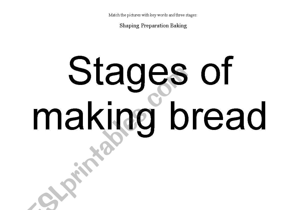 English Worksheets Stages Of Making Bread