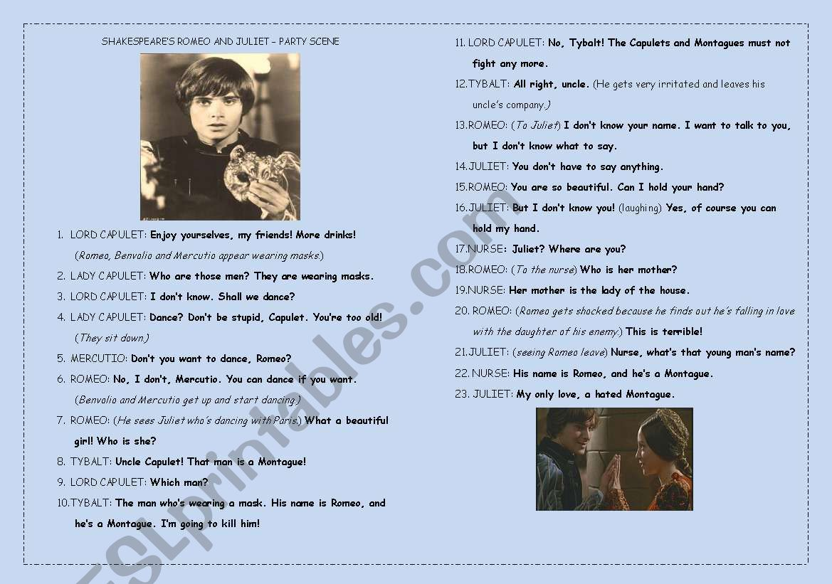 English Worksheets Shakespeare S Romeo And Juliet