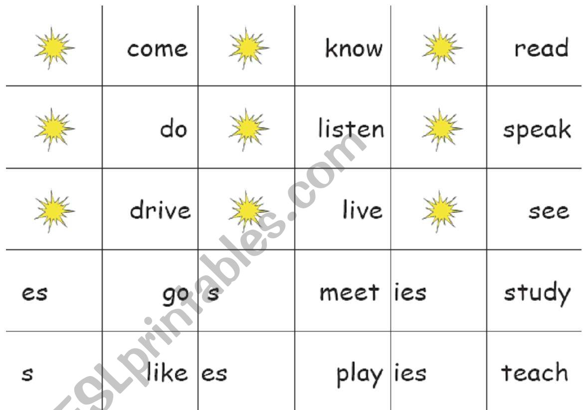 Verb S Es Ies Dominoes Game