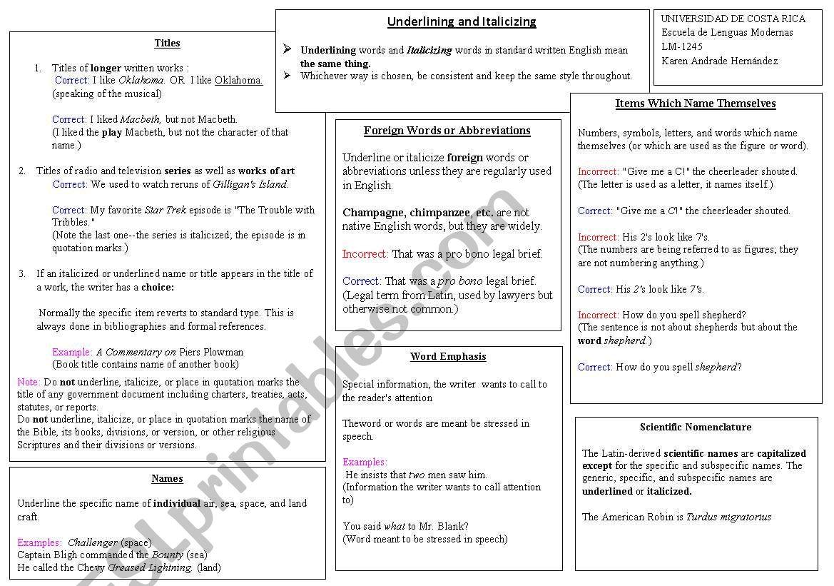 English Worksheets Underlining And Italicizing