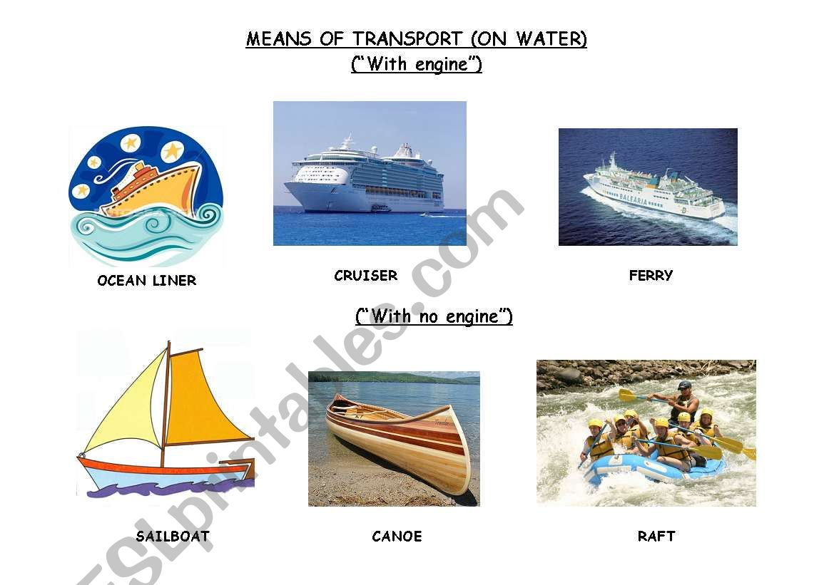English Worksheets The Means Of Transport On Water B