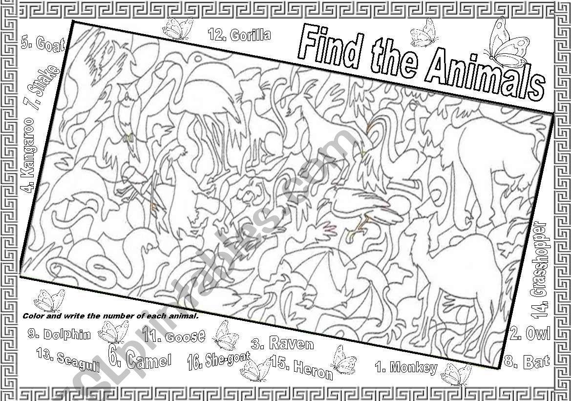 Printables Of Find The Animals Worksheet