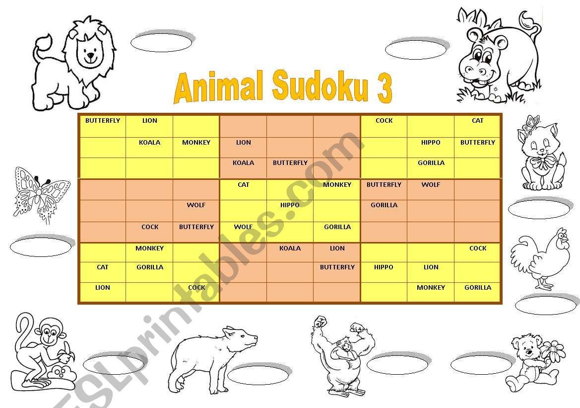 Animal Sudoku 3 Key Fully Editable