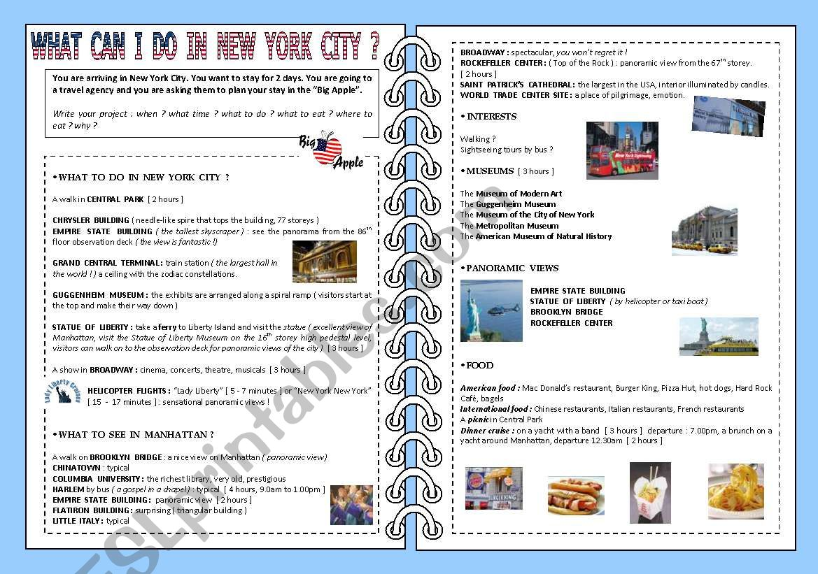 What Can I Do In New York City 2 Pages