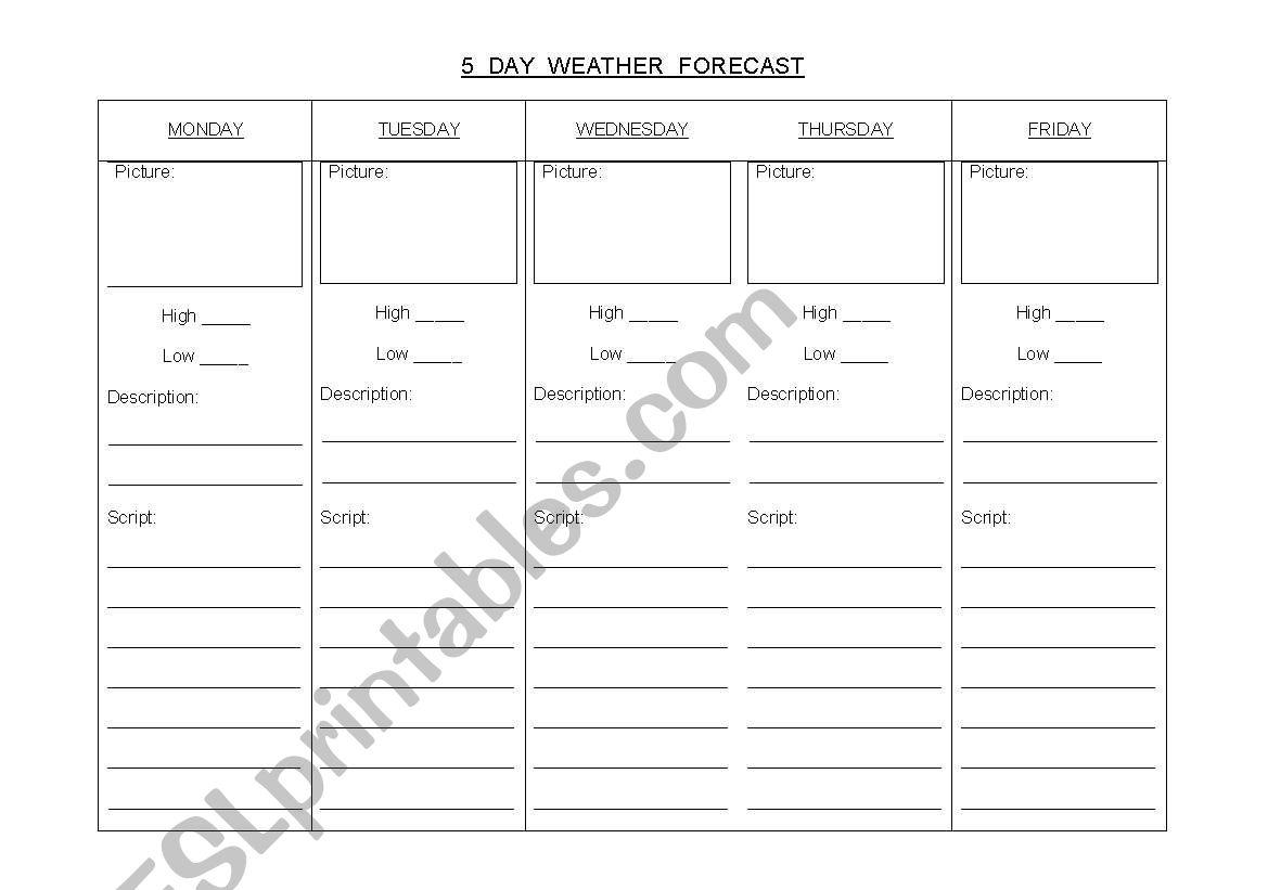English Worksheets 5 Day Weather Forecast
