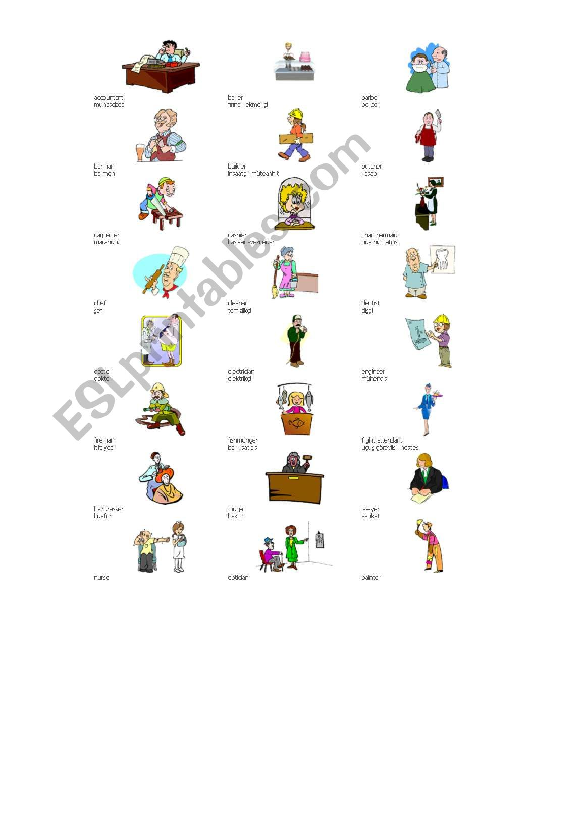 English Worksheets Jobs