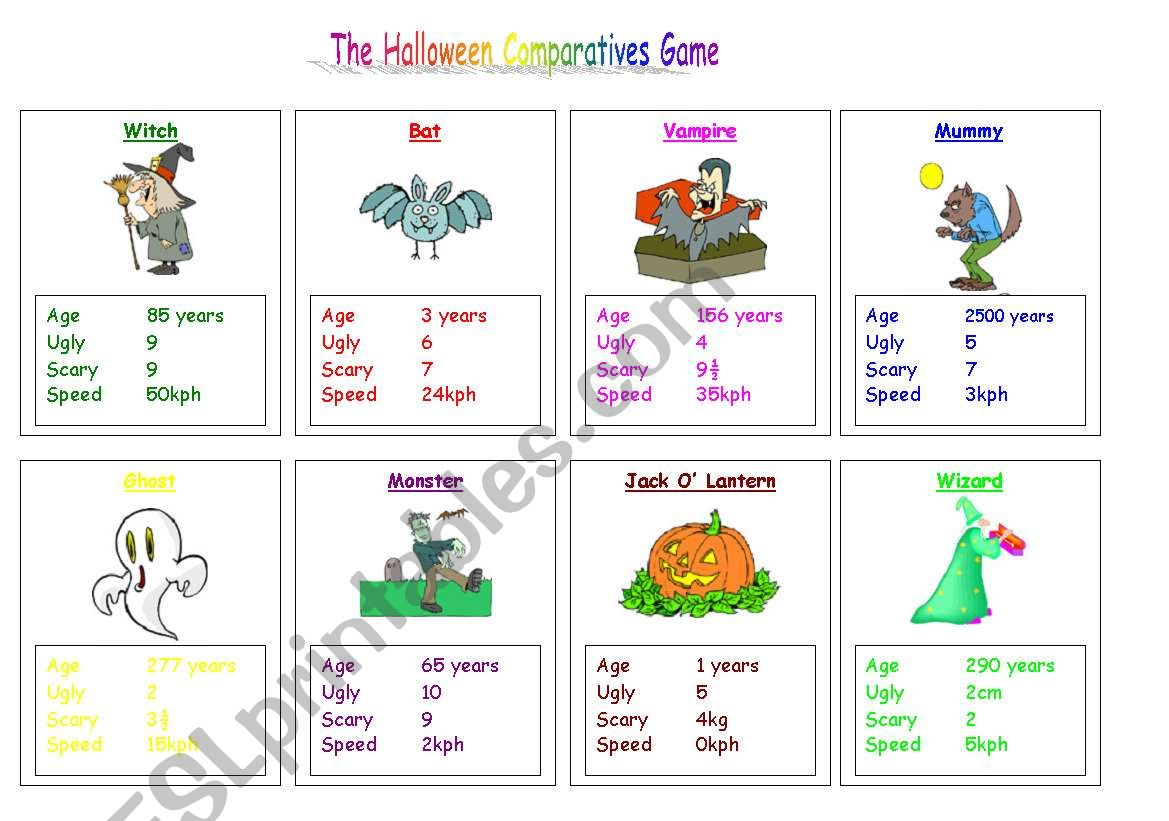 Halloween Comparatives Game